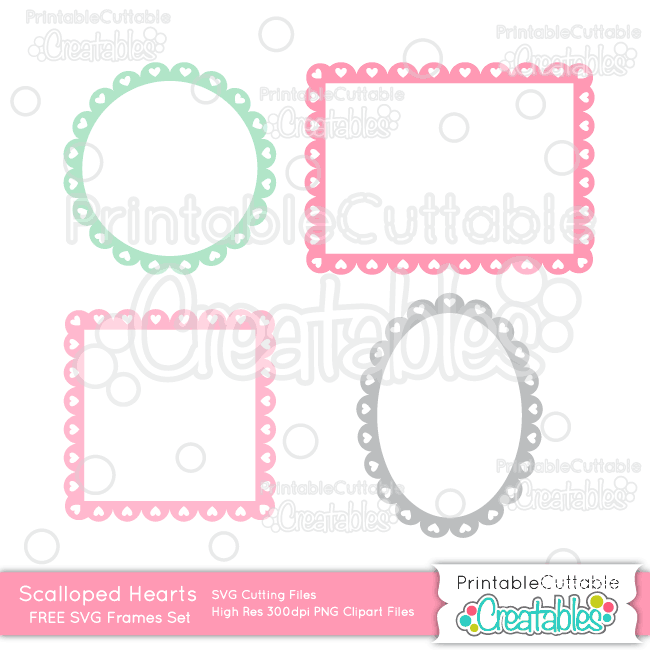 Download Free png Scalloped Hearts Frames FREE SVG Cut Files for.