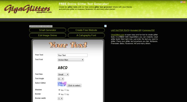 Access gigaglitters.com. Glitter text generator!.