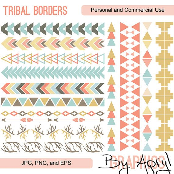 Tribal Pattern Borders Aztec in Pastel Aztec Clipart Commercial Use.