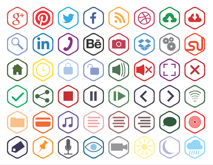 Free Hexagonal Outline Icons (Ai + PNG + SVG).