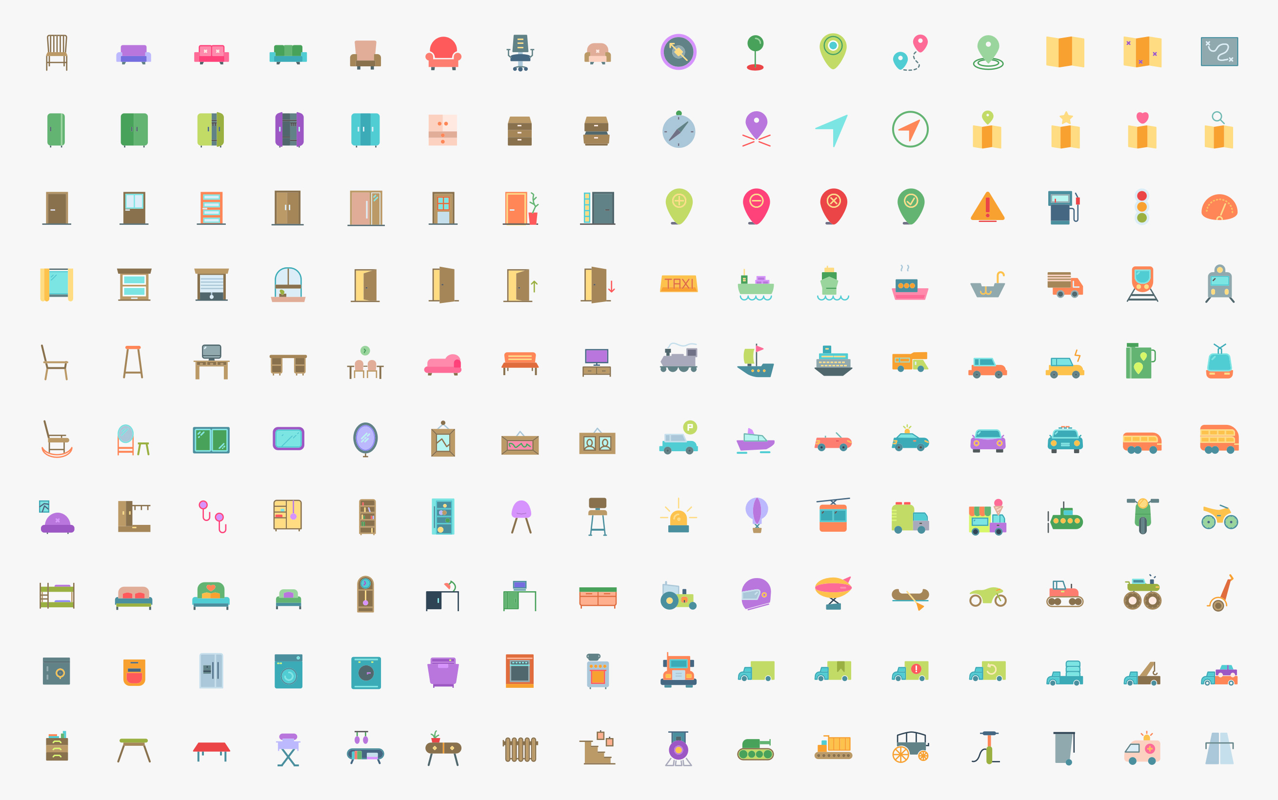 Free, customizable transport & household icon pack.