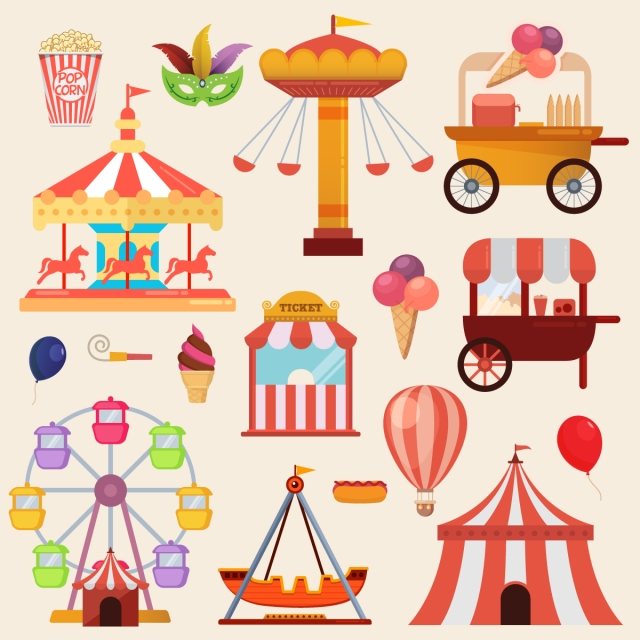 Download Free png Vector Illustrations Of Carnival Circus With Tent.