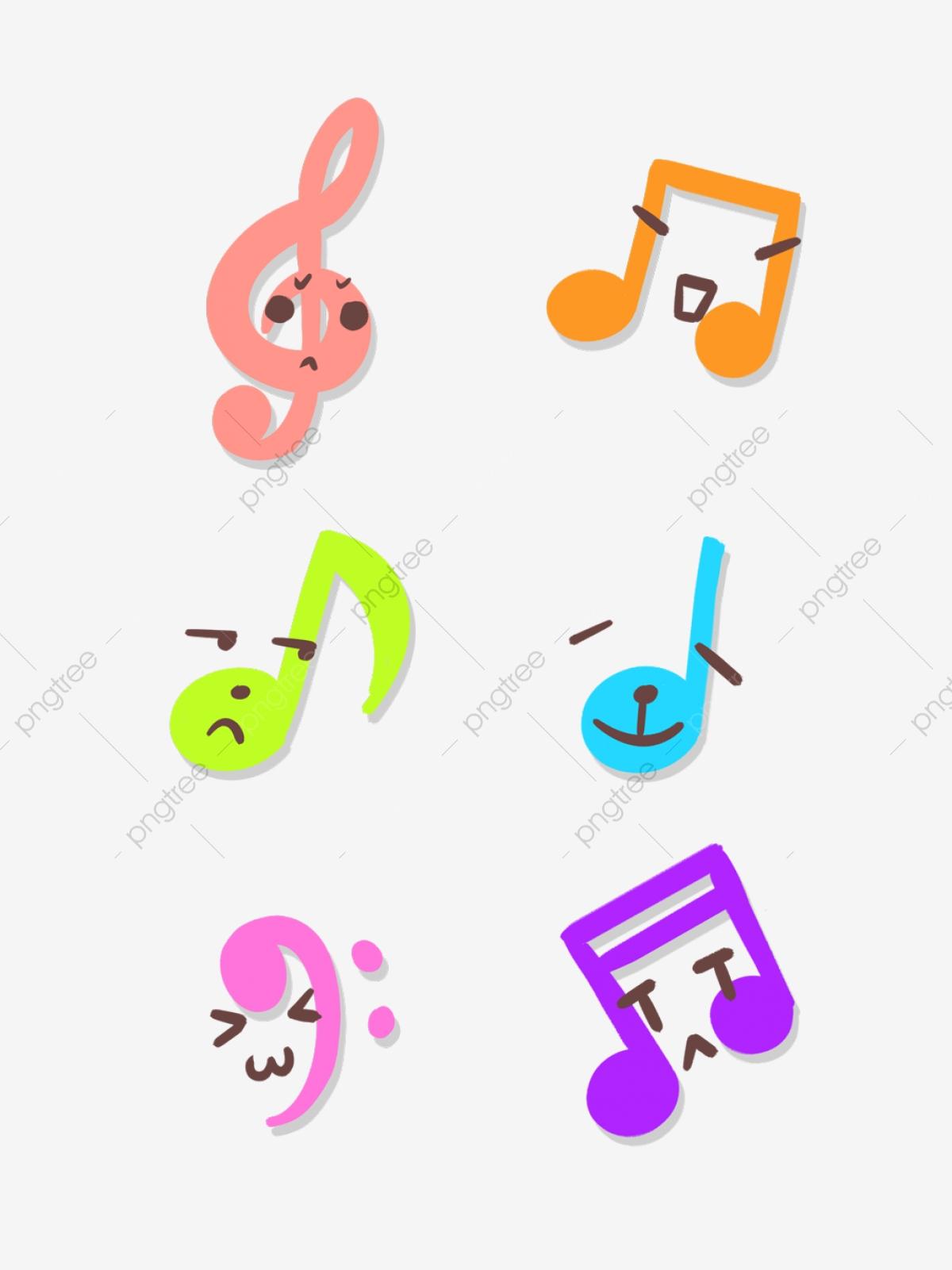 Hand Drawn Cartoon Cute Colorful Musical Notes Music Symbols.