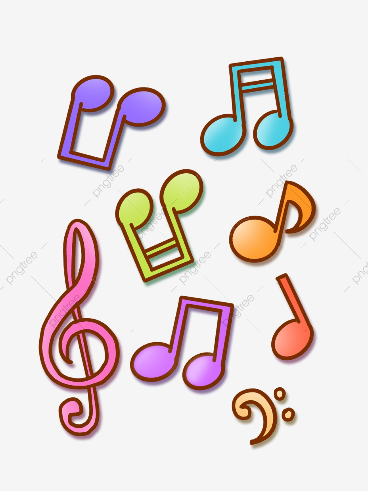 Hand Drawn Cartoon Colorful Musical Notes Music Symbols For.