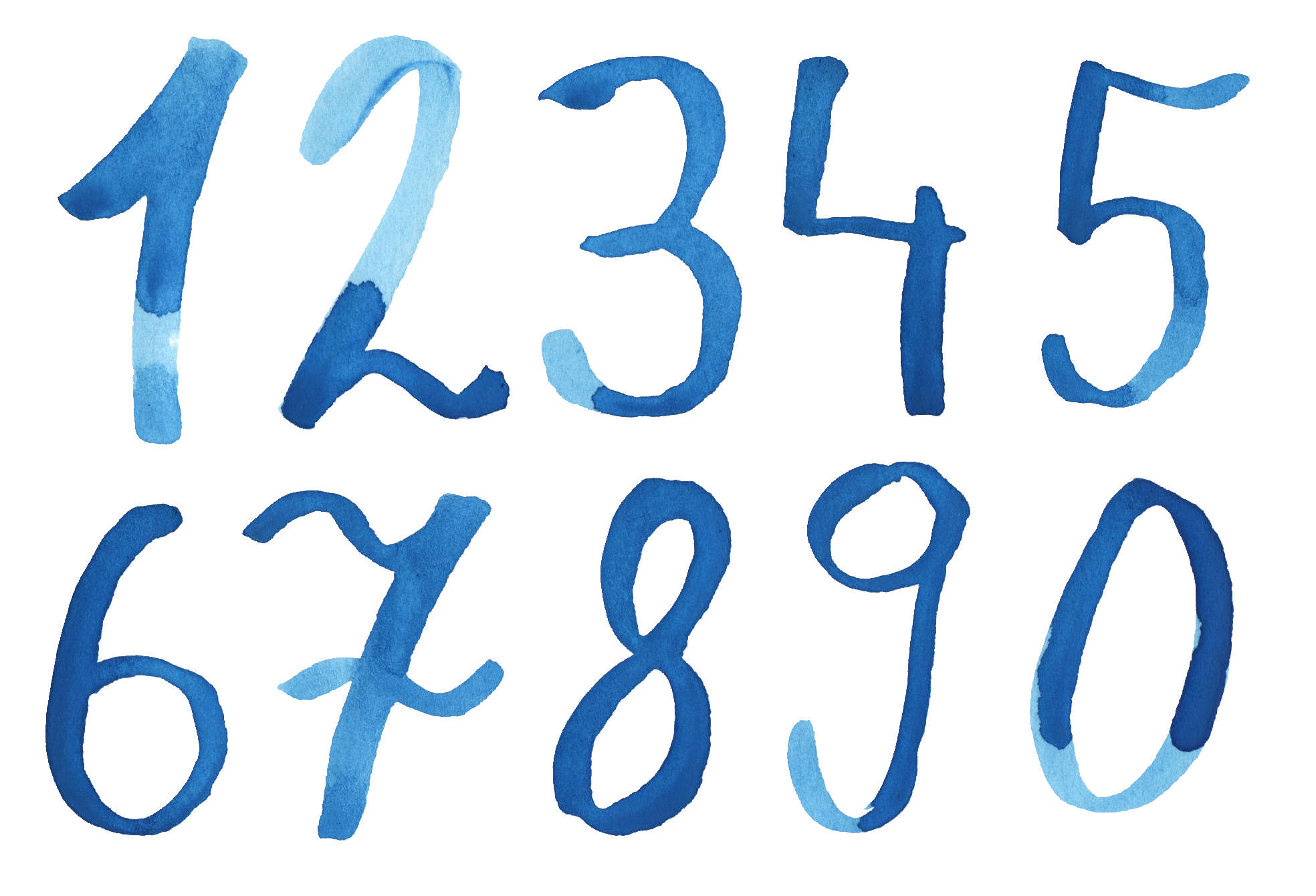 Blue Watercolor Numbers (PNG Transparent).
