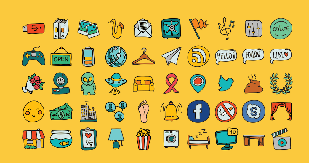 Free Hand Drawn Doodle Icon Set (AI,SVG,PNG).