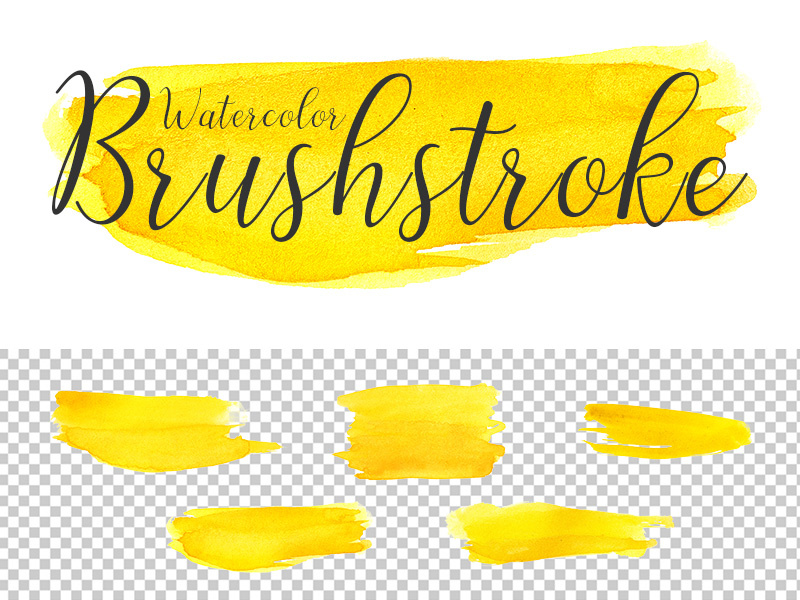 Free Yellow Watercolor Brushstroke Transparent PNG Pack by Country4k.
