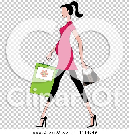 Clipart Slender Dark Haired Pregnant Woman Walking With A Shopping.