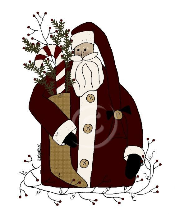 Primitive Christmas Santa Clip Art free image.
