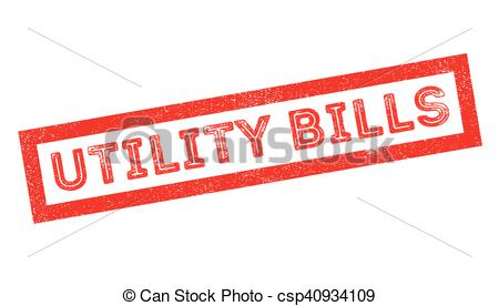 Vector Clipart of Utility Bills rubber stamp on white. Print.
