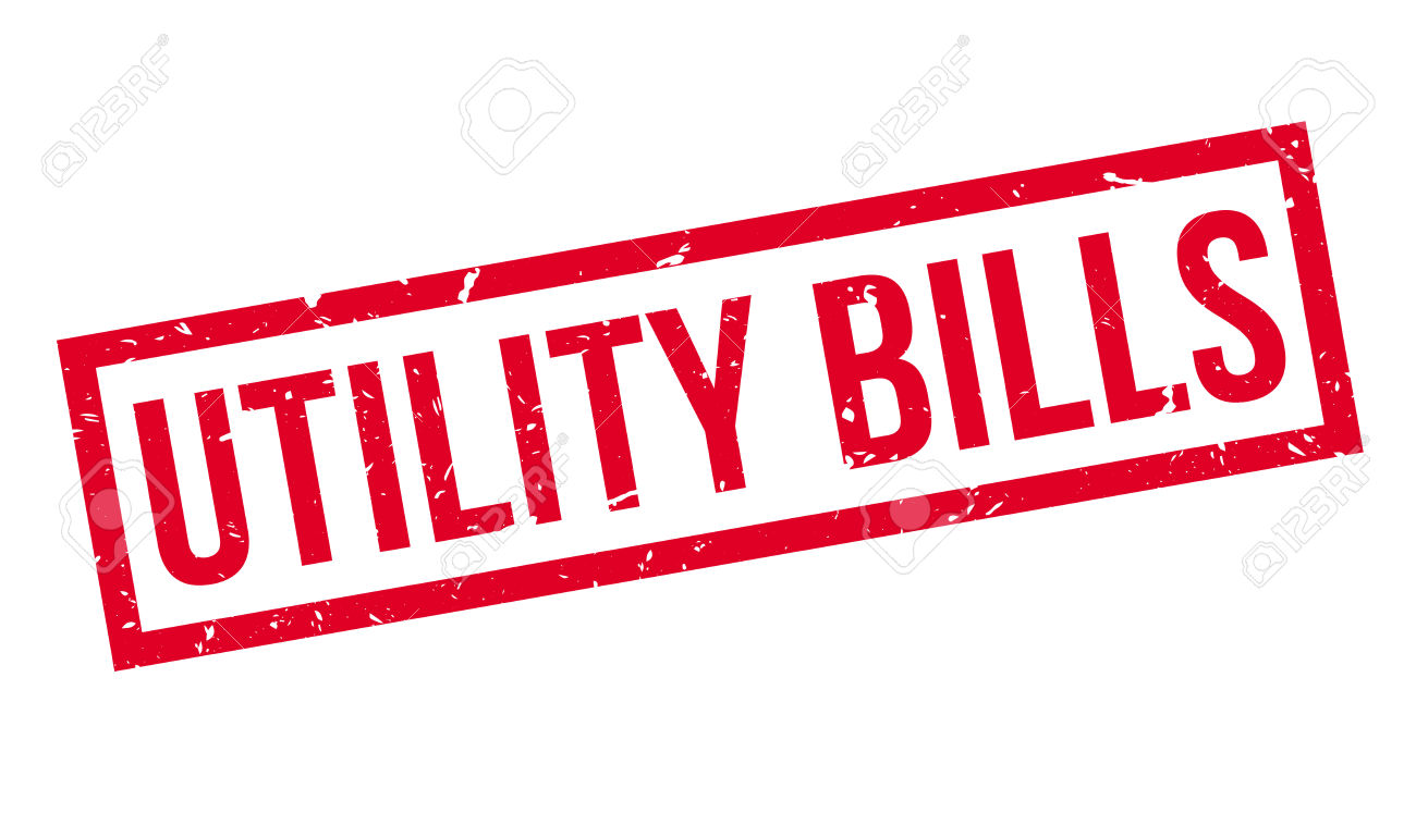 Utility Bills Rubber Stamp On White. Print, Impress, Overprint.
