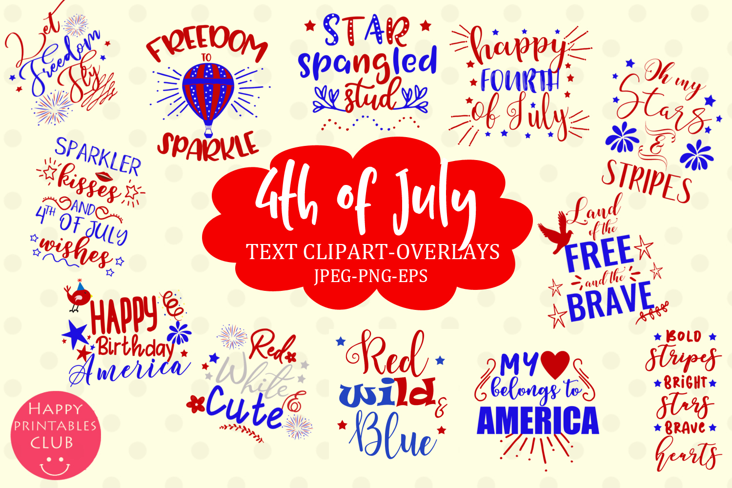 4th of July Text Clipart Overlays.