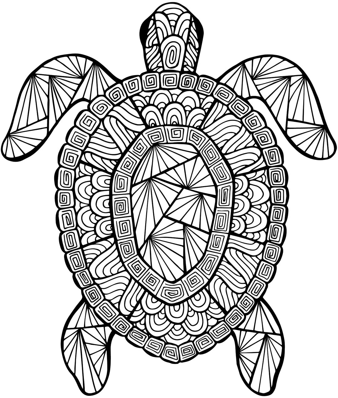 Detailed Sea Turtle Advanced Coloring Page.