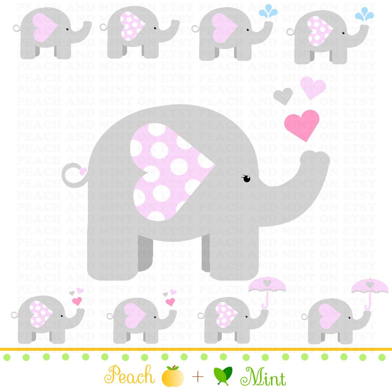 Baby Shower Elephant Clipart Girl.