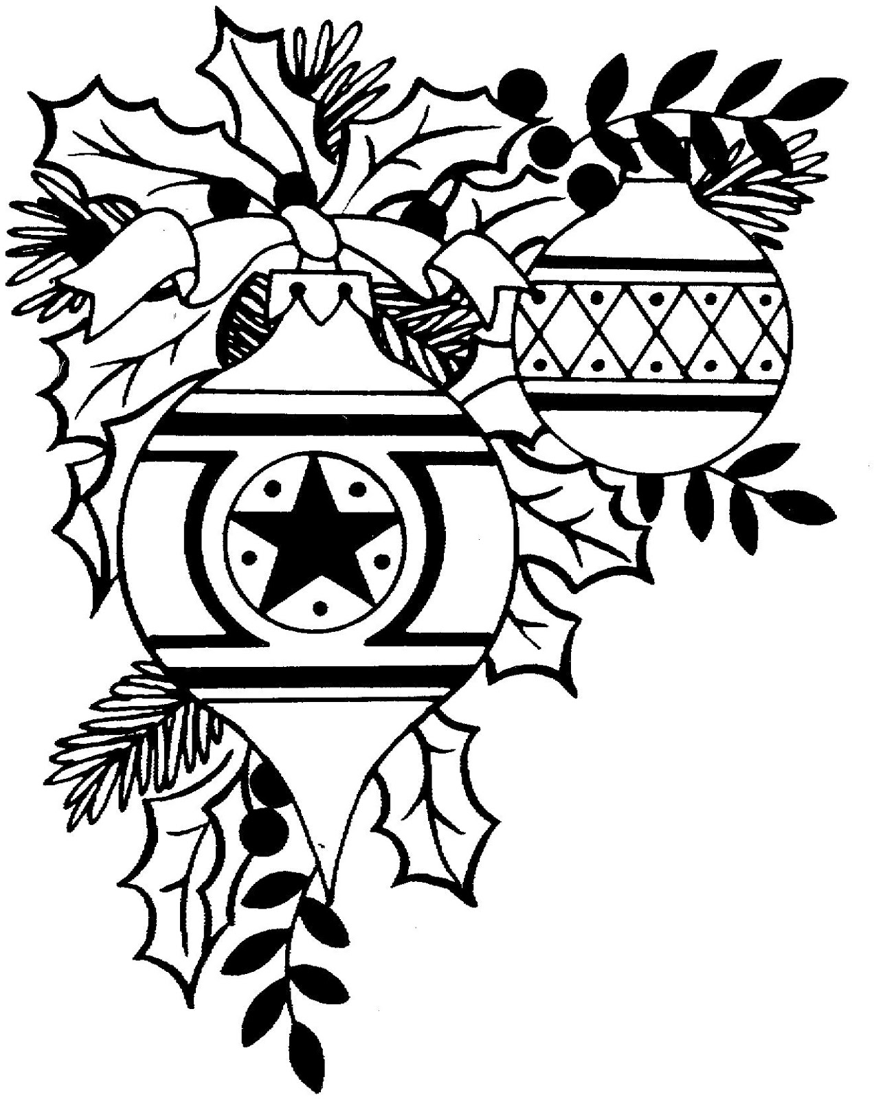 Christmas Clip Art Black And White Printable.