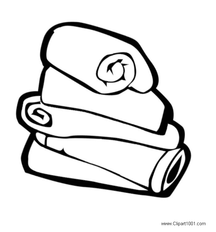 Beach Towel Clipart Black and White.