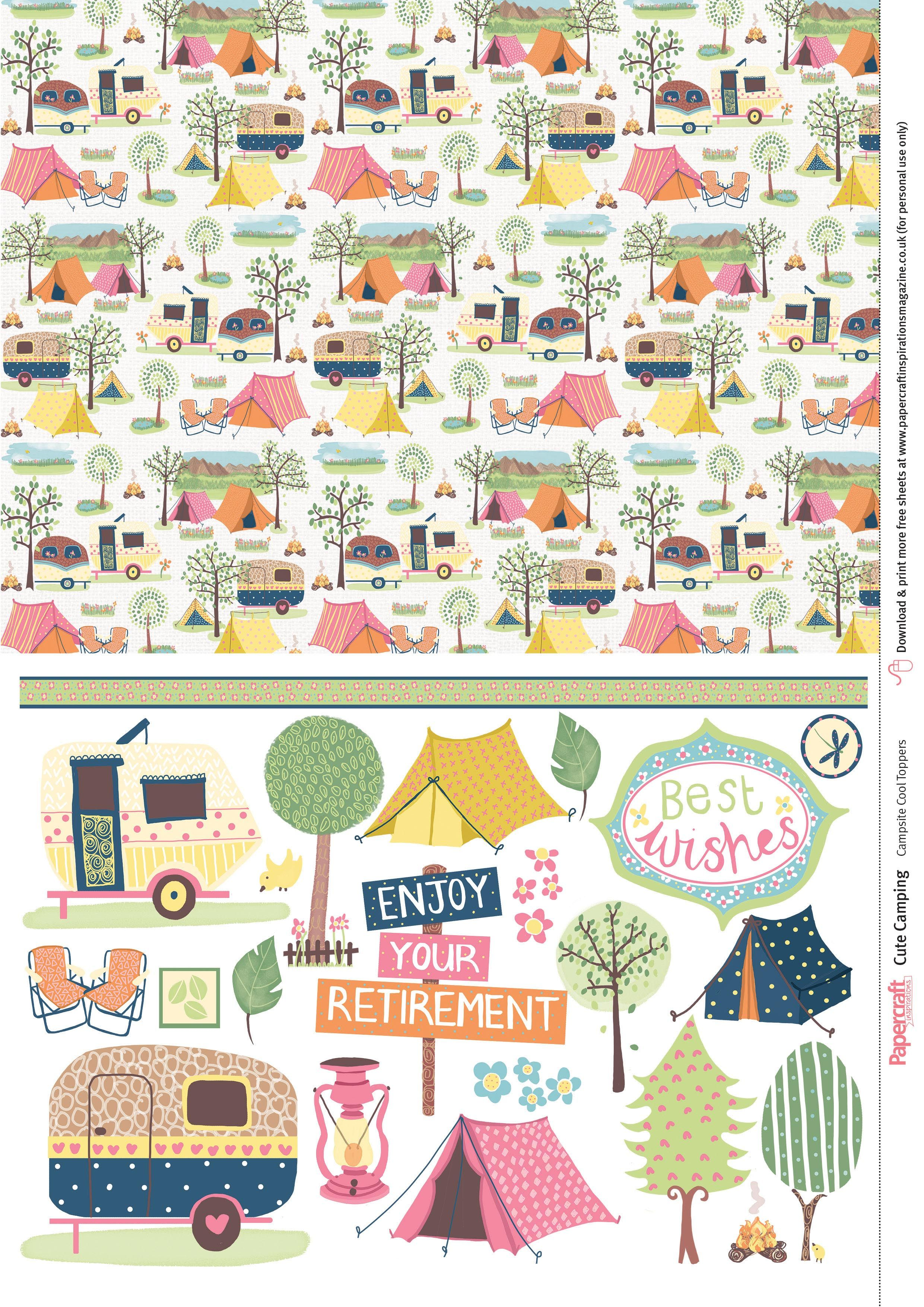 Cute Camping free digital papers.