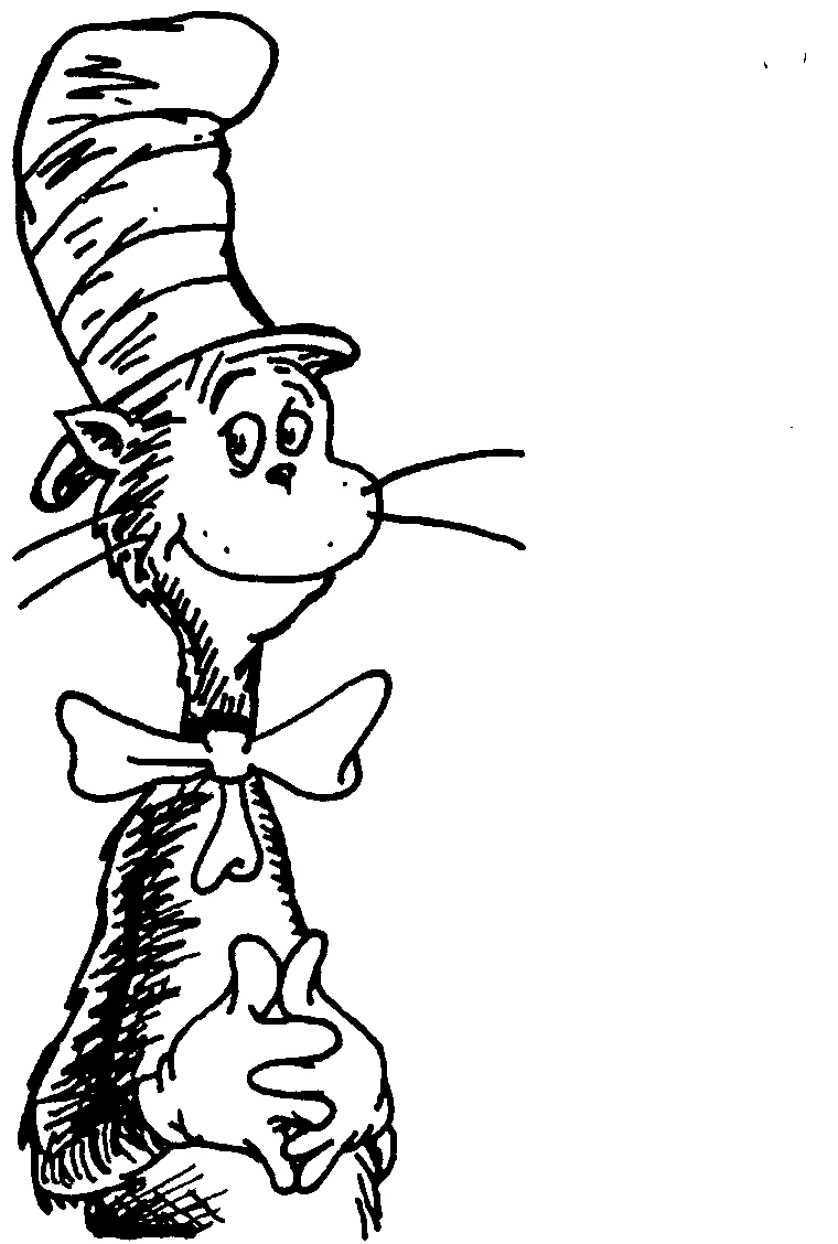 Cat In The Hat Clipart Black And White.