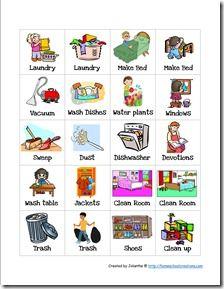 Free Preschool Chore Charts.