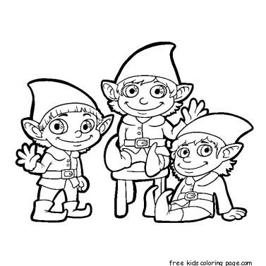 Elf Black And White Free Printable Christmas Pictures Clip Art.