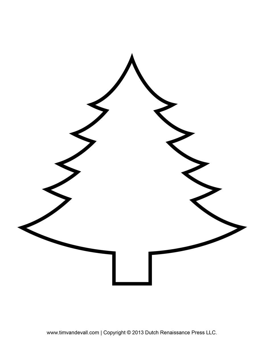 Printable Paper Christmas Tree Template Clip Art Coloring Pages.