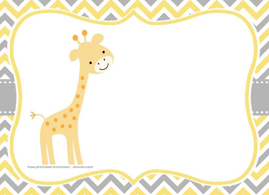 FREE Giraffe Birthday and Baby Shower Invitation Templates.