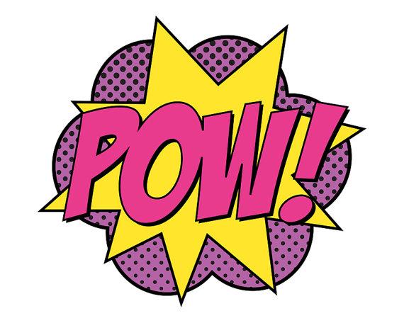 Super Girl Pow Sign Jumbo by finedandyprintables on Etsy, $5.00.