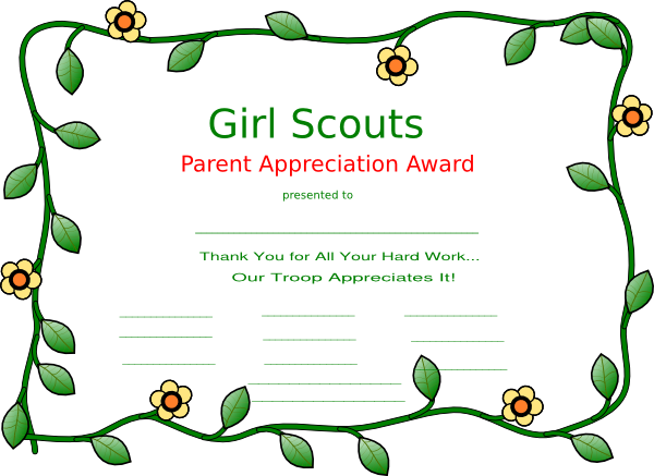 girl scout certificate templates.