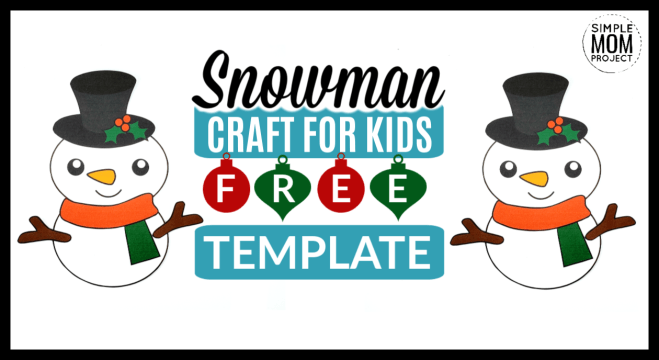 Printable Christmas Snowman Craft with FREE Template.