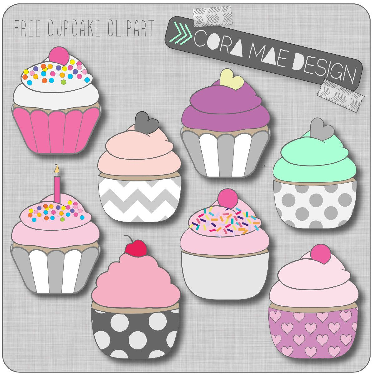 Free printable cupcake clipart for junk journals, art journals or.