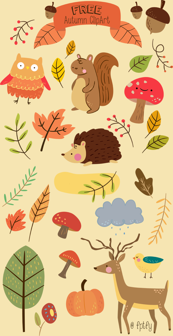 Free Critter Autumn Planner Stickers and Clip Art.