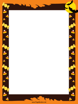 This festive, free, printable Halloween border has bats and candy.