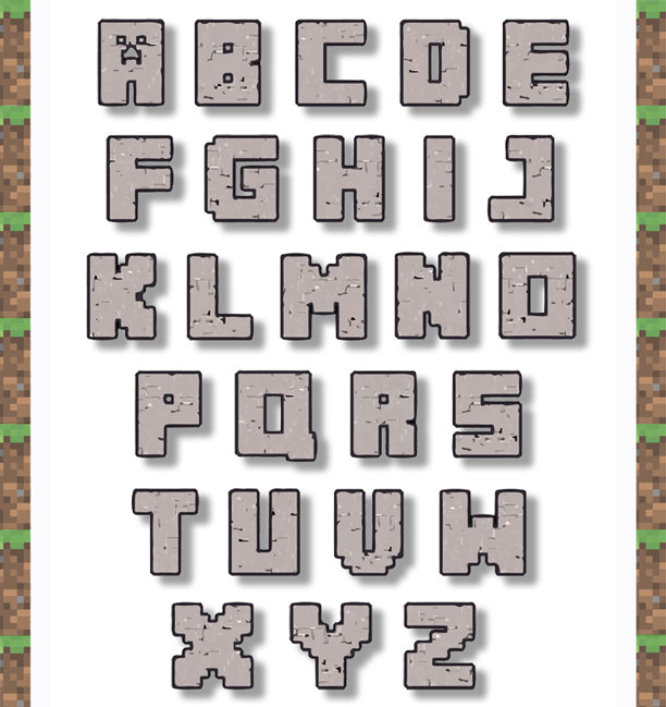 free printable minecraft alphabe.