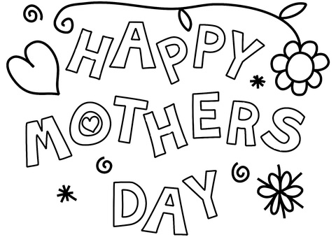 Happy Mother's Day coloring page.