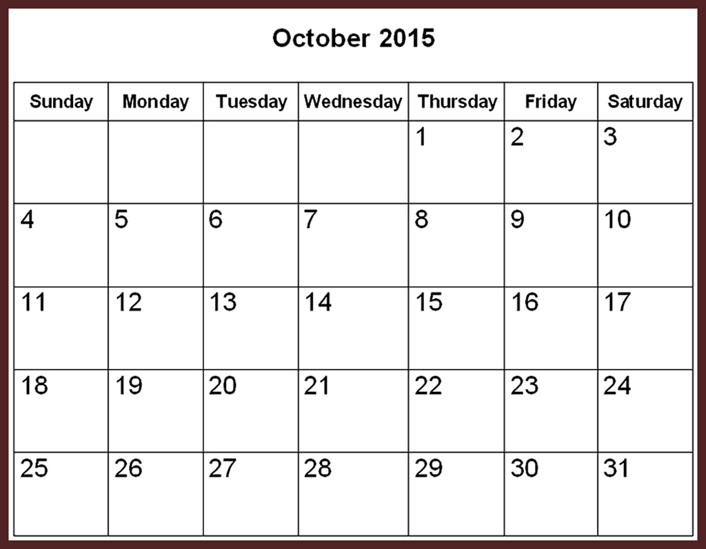 October 2015 Calendar Printable Template.