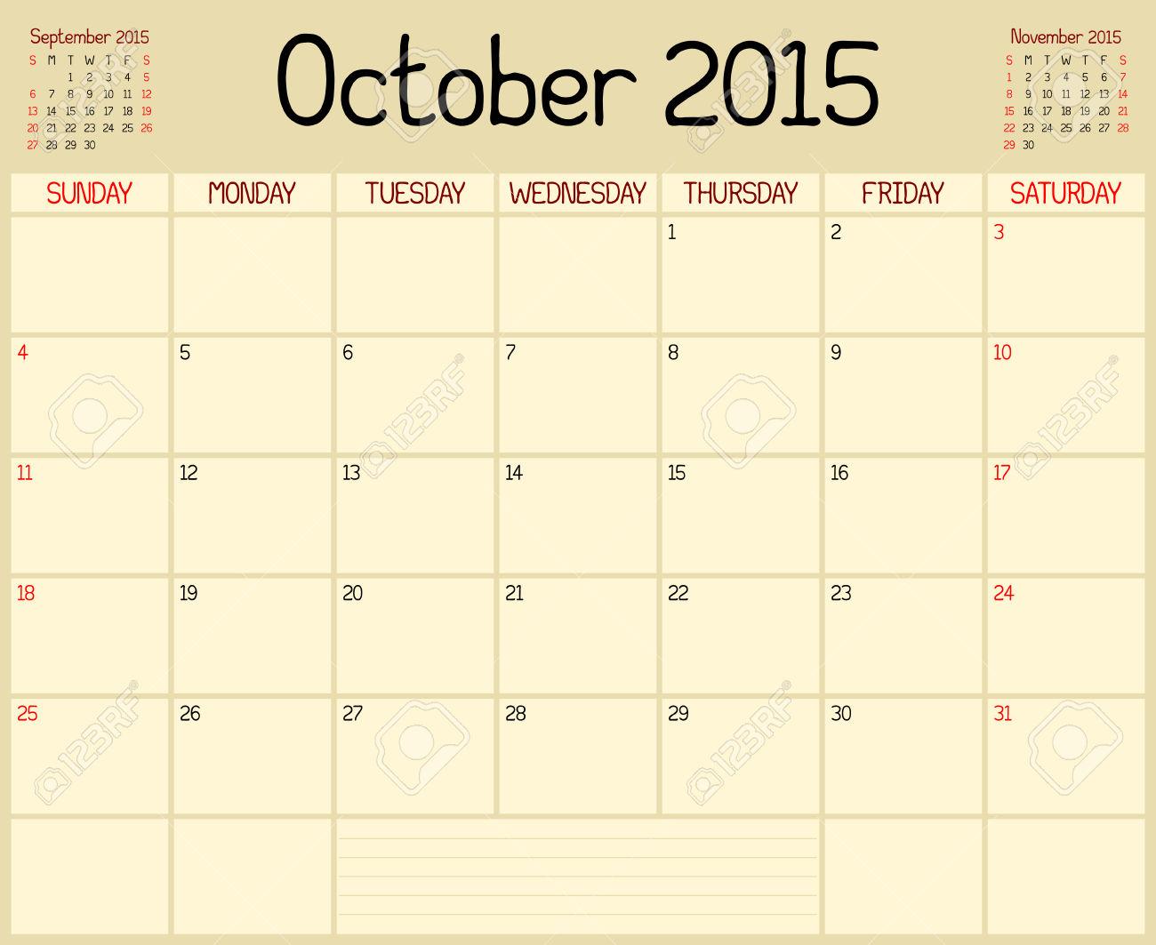 October 2015 Calendar Clip Art.