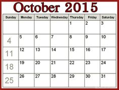 october 2015 calendar template printable