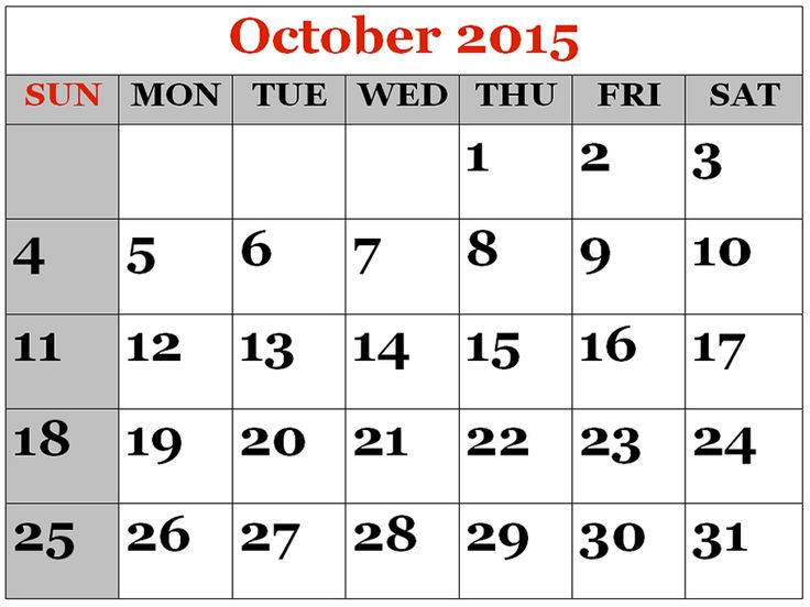 Free Download 2015 October Calendar Printable Pictures, Images.