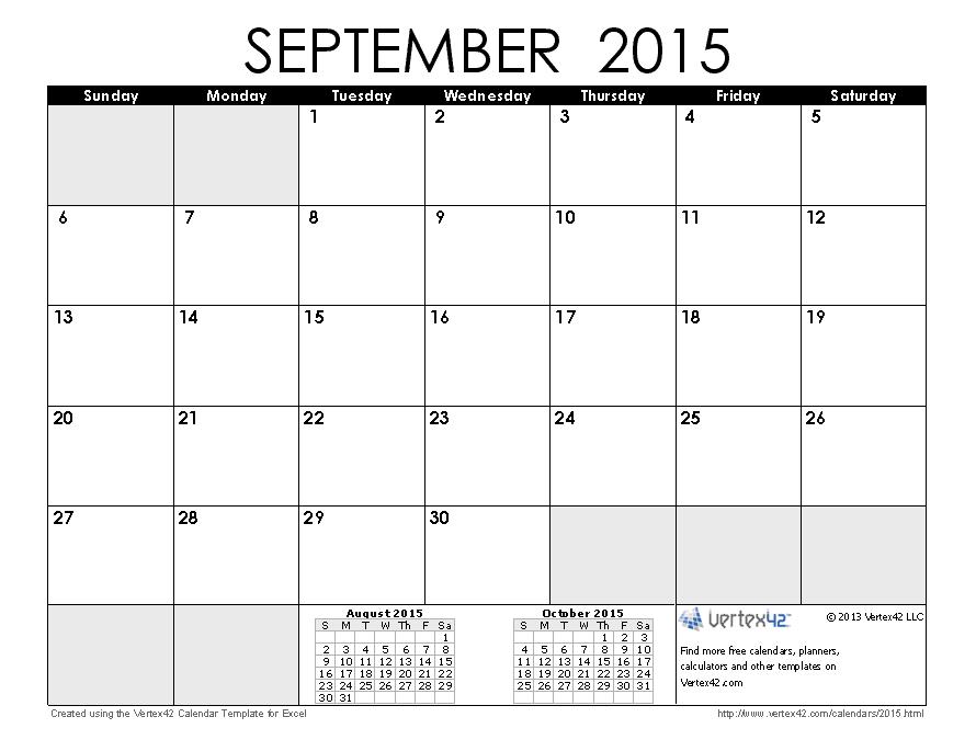 September 2015 Calendar With Clipart.