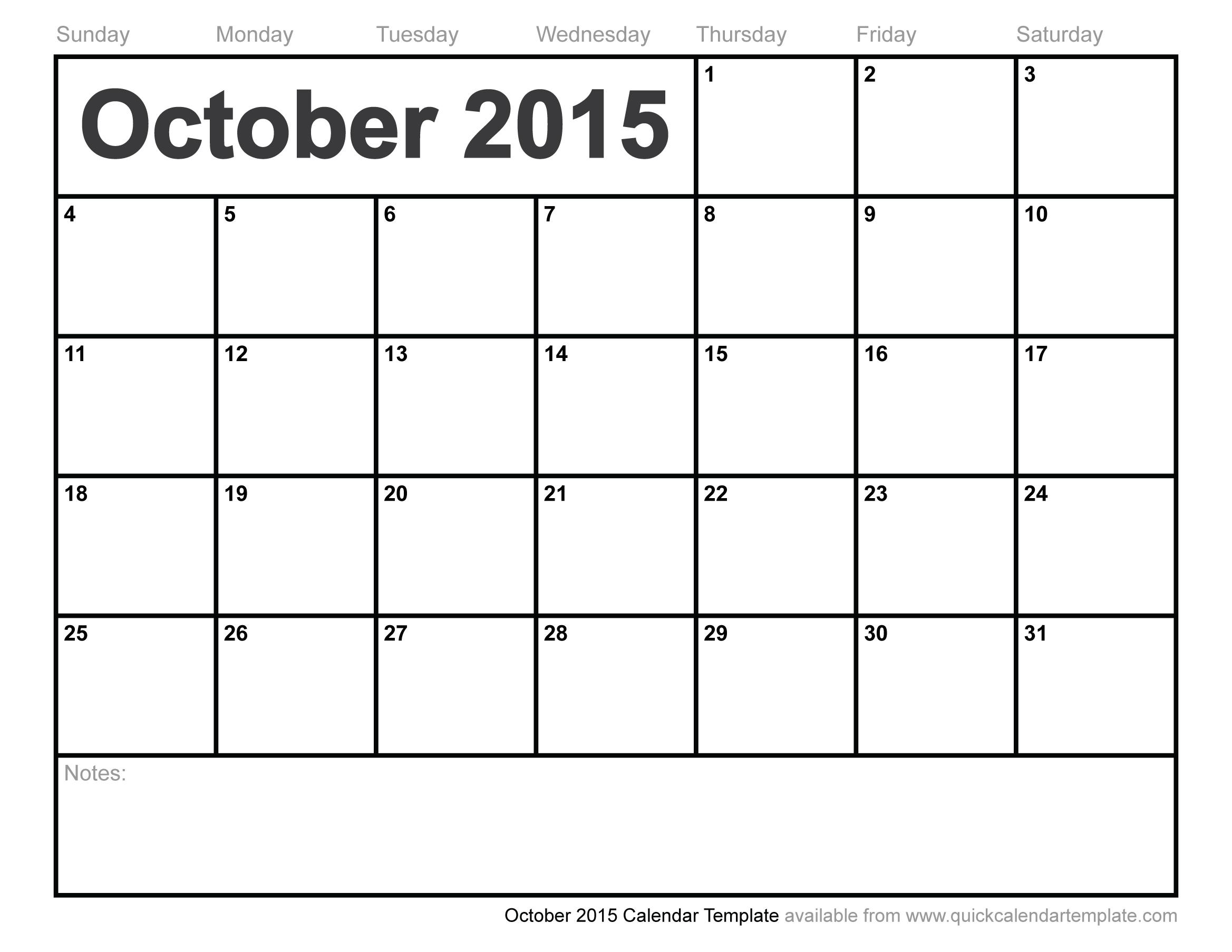 Printable Calendar October 2015.