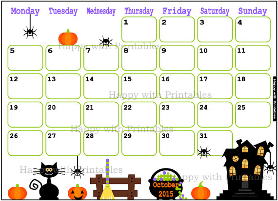 October 2015 Calendar Clipart.