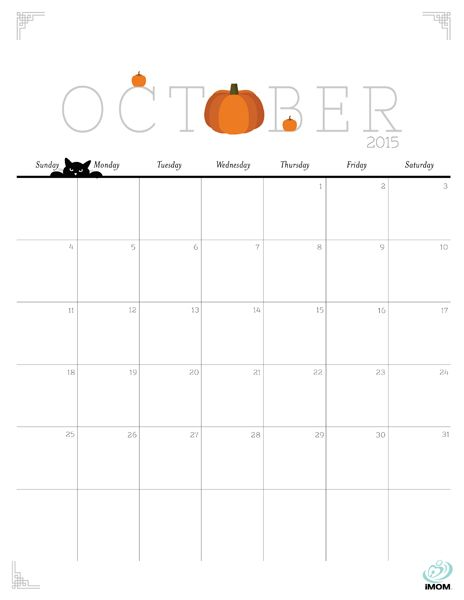Free Printable October 2015 Calendar Clipart Clipground