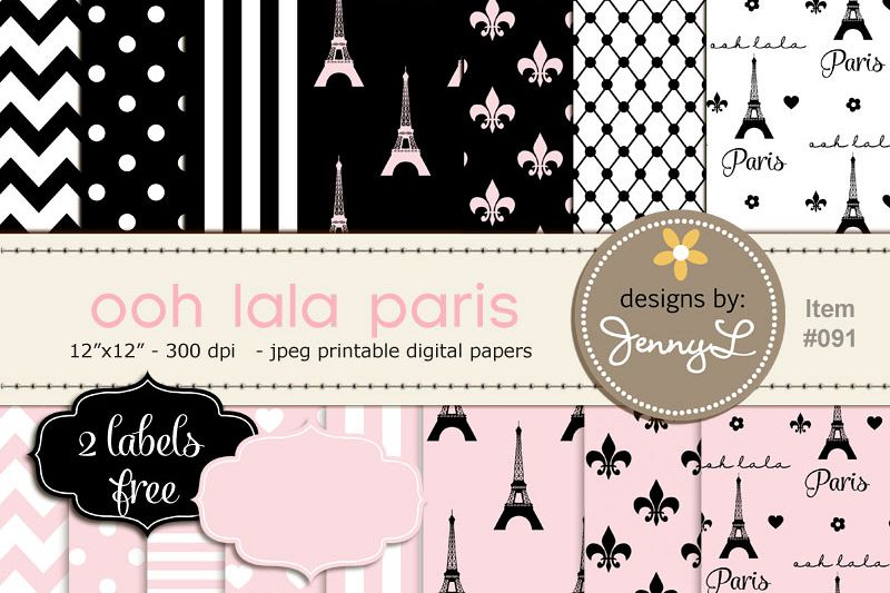 Paris Digital Paper, Eiffel Tower Printable Digital Background Papers,  Fleur,.
