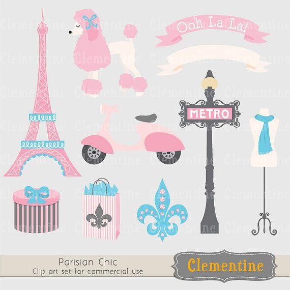 Paris clip art images, Eiffel tower clip art, royalty free.