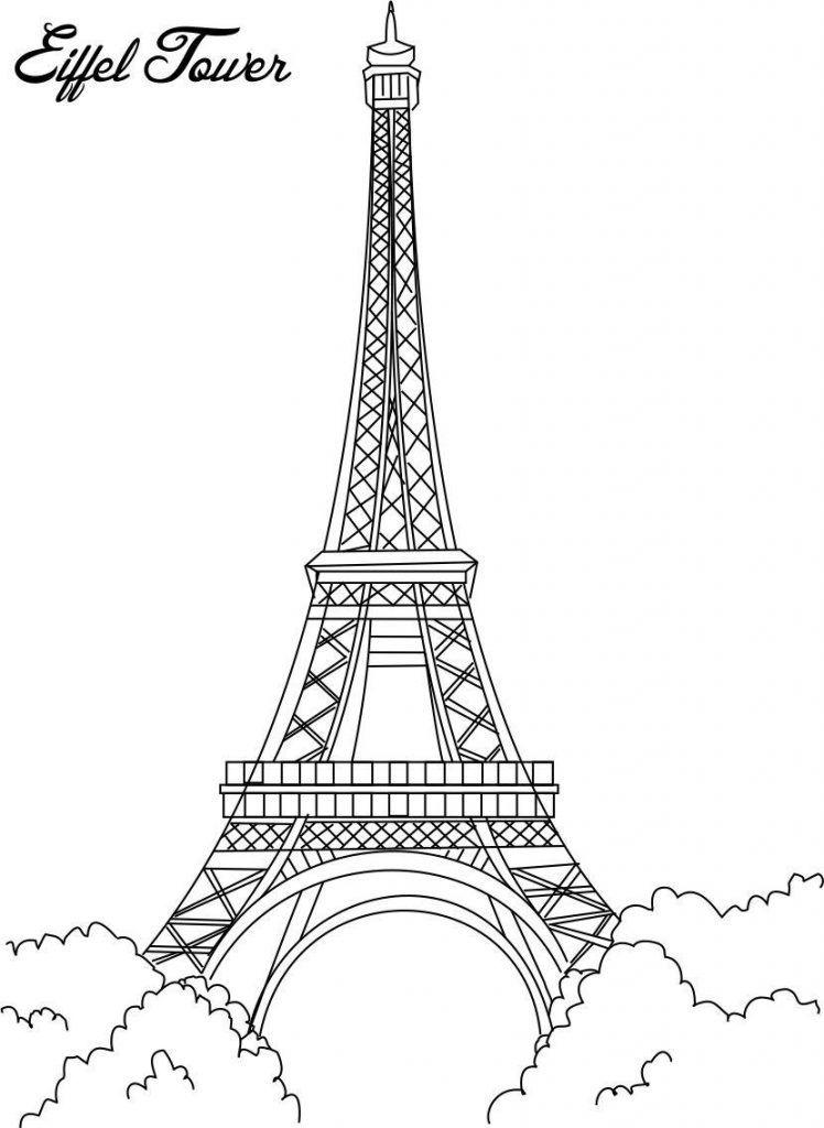 Paris clipart colouring page, Paris colouring page.