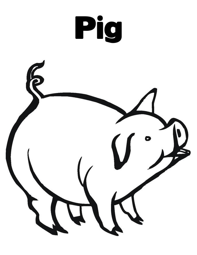 free printable pig clipart black white - Clipground