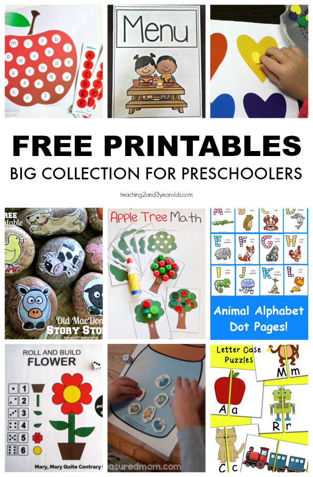 Big Collection of Free Preschool Printables for School and Home.