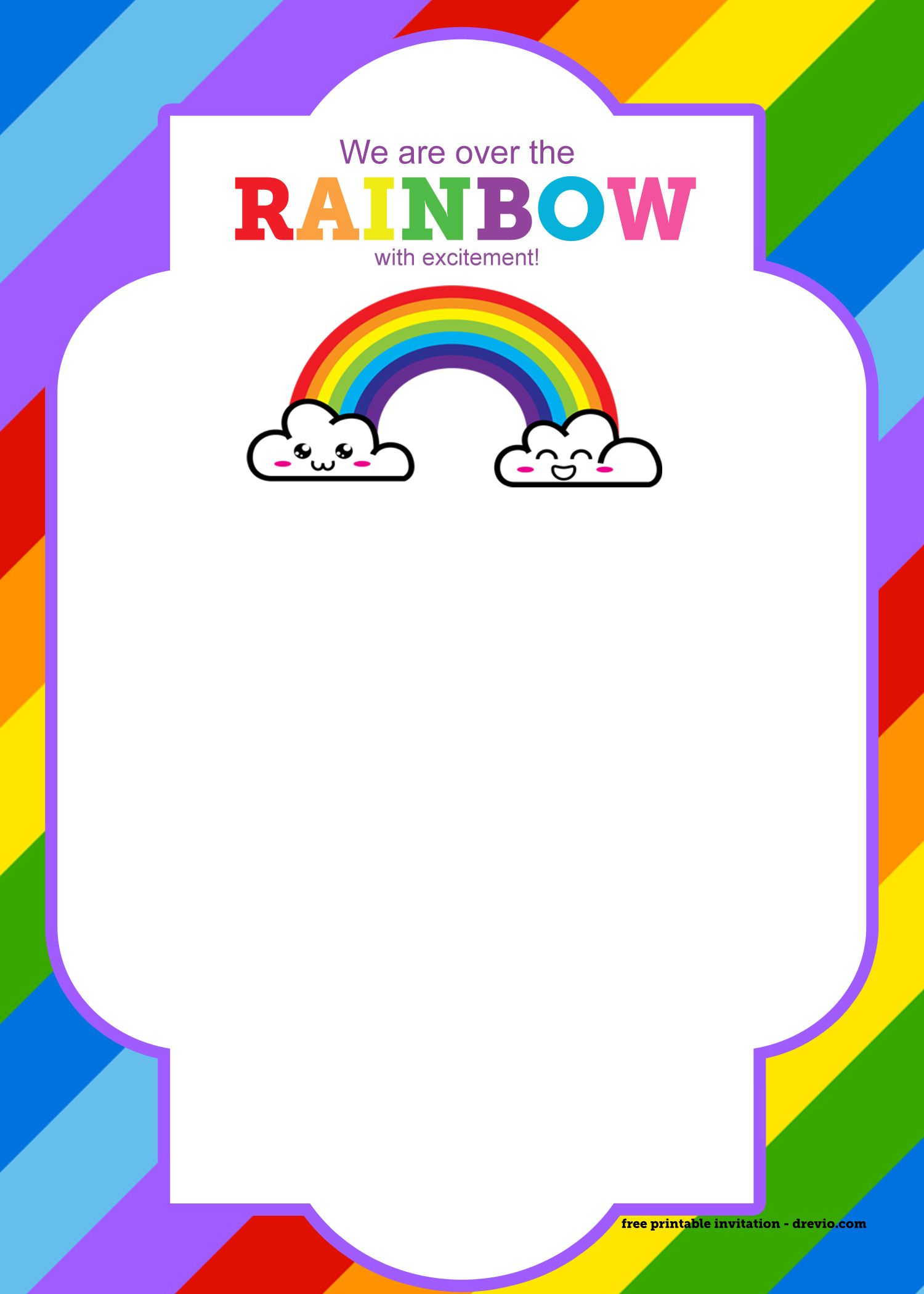 FREE Printable Rainbow Invitation Template + Thank You.