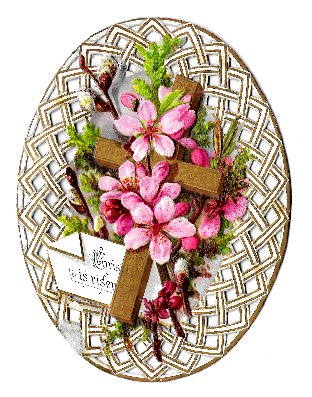 Antique Images: Free Easter Printable Greeting Card Flower Religious.