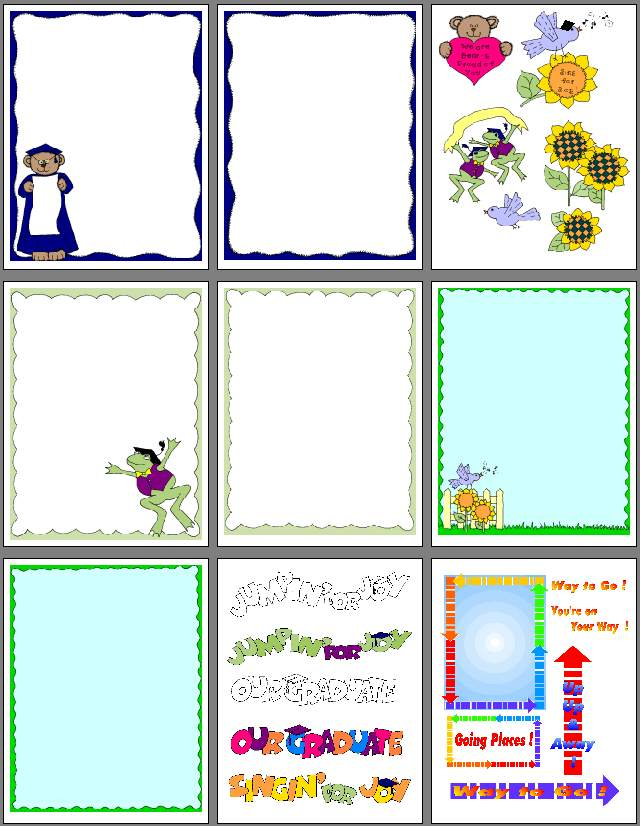 Graduation scrapbook clipart and pages to print..